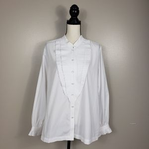 🌵BOB MACKIE Ruffle Bib White Tuxedo Button Down